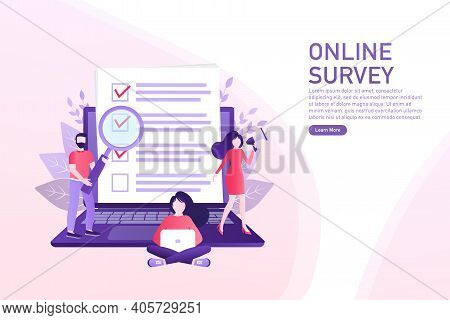 Line Online Survey People, Great Design For Any Purposes. Big Laptop With People Making Survey. Tech