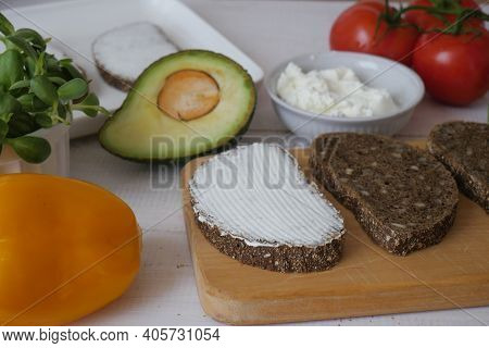 Sandwich On A Tray. Sandwich. A Sandwich. Morning Sandwich With Cream Cheese And Vegetables. Copyspa