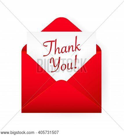 Flat Red Thank You Envelope For Decoration Design. Vintage Banner For Celebration Design. Red Thank