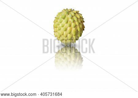 Annona Or Or Cherimoya Exotic Fruit, Healthy Food On White Isolated Background.