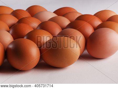 Brown Fresh Chicken Eggs. Closeup Natural Organic Egg Pattern. Healthy Real Food