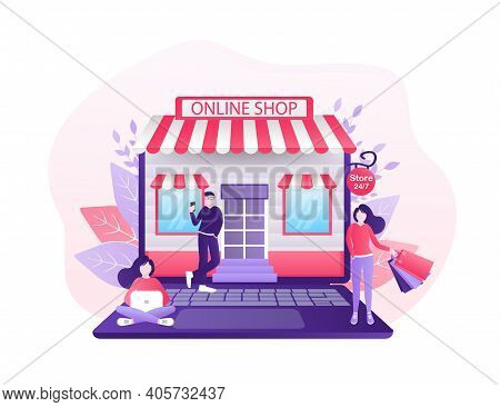 Line Shopping People, Great Design For Any Purposes. Laptop Icon Vector. Cartoon Flat Vector Illustr
