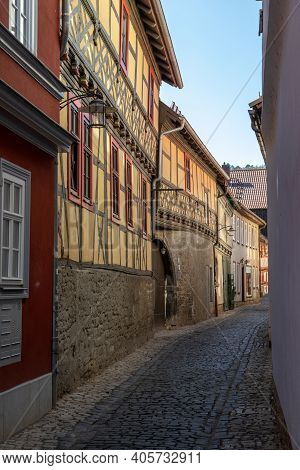 Narrow Cobbled Alley With Facades Of Historic Half-timbered Houses In The City Meiningen, Thuringia