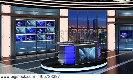 Virtual Tv Studio News Set 27. Green Screen Background. 3d Rendering. Virtual Set Studio For Chroma