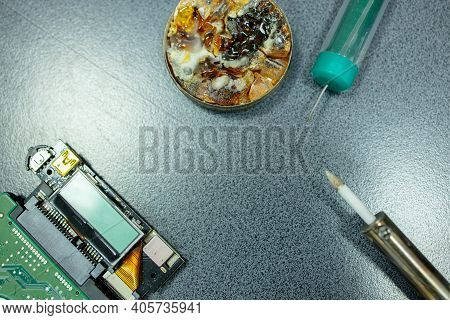 Radio Electronic Parts Repair With Assembly Tools. Top View. Electronics Repair.
