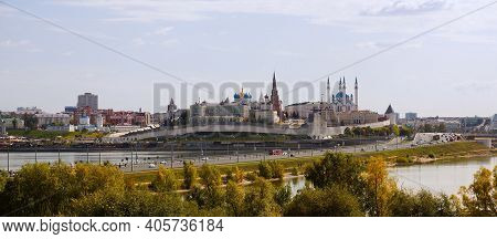 Kazan, Russia - September 8, 2019. Panorama Of The City. View Of The Kazan Kremlin, The Kul-sharif M