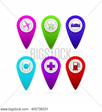 3d Map Travel Pointer Hotel For Medical Design. Pin Icon Vector. Car Service. Pin Point Icon. Vector