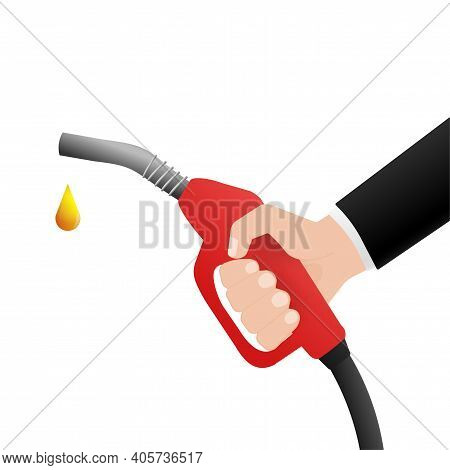 Fuel Nozzle With Hand In Flat Style On White Background. Cartoon Flat Vector Illustration. Business