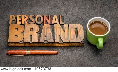 Personal brand word abstract - text in vintage letterpress wood type printing blocks with a up of coffee, business and personal development concept