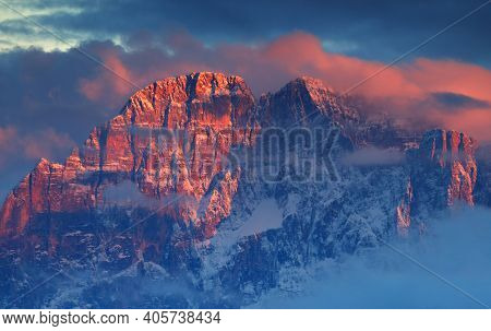 Sunset panoramic view of mount Civetta South Tirol dolomites mountains Italy