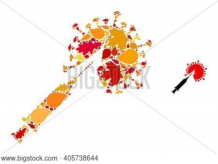 Virus Vaccine Injection Mosaic Icon Done For Fall Season. Vector Virus Vaccine Injection Mosaic Is D