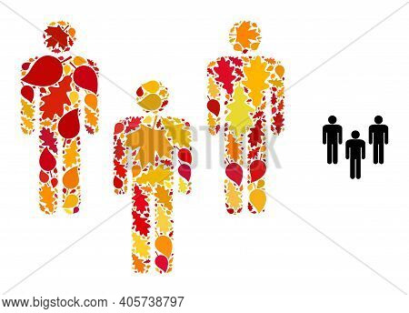 People Crowd Mosaic Icon Designed For Fall Season. Vector People Crowd Mosaic Is Constructed With Sc