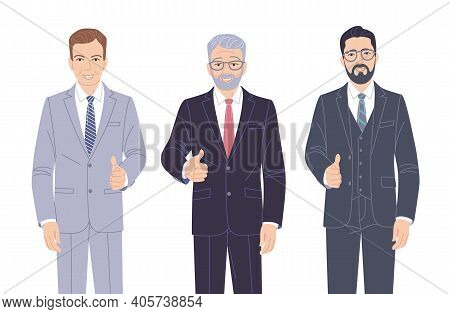 Confident Men In Strict Clothes Isolated On White. Elderly And Young Friendly Business Men In Formal