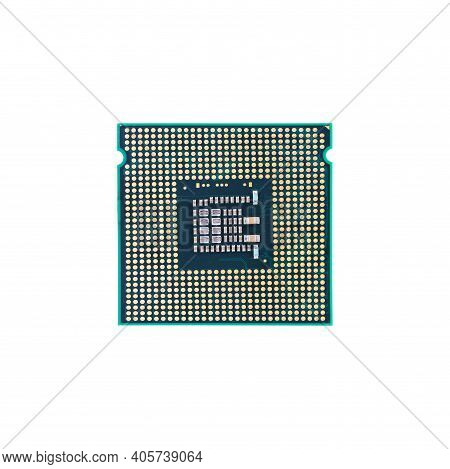 Computer Cpu Isolated On A White Background. Desktop Hardware. Central Processing Unit Close Up Macr