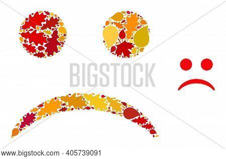 Sad Smiley Mosaic Icon Created For Fall Season. Vector Sad Smiley Mosaic Is Constructed Of Random Fa