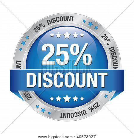 25 Discount Blue Silver Button