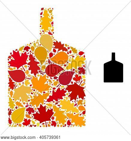 Wide Bottle Mosaic Icon Designed For Fall Season. Vector Wide Bottle Mosaic Is Designed Of Scattered