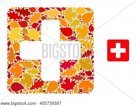 Medical Box Mosaic Icon Constructed For Fall Season. Vector Medical Box Mosaic Is Constructed Of Sca