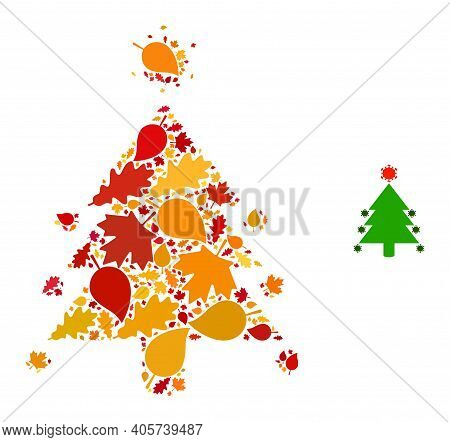 Coronavirus Fir-tree Mosaic Icon Created For Fall Season. Vector Coronavirus Fir-tree Mosaic Is Shap