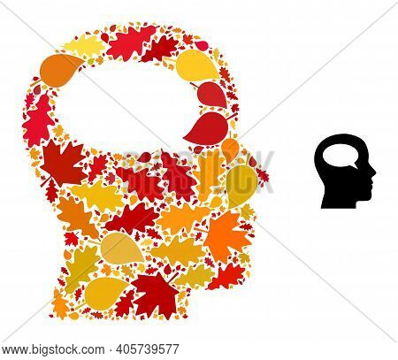 Thinking Mosaic Icon Organized For Fall Season. Vector Thinking Mosaic Is Made With Random Fall Mapl