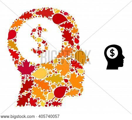 Bank Thinking Mosaic Icon Created For Fall Season. Vector Bank Thinking Mosaic Is Designed From Rand