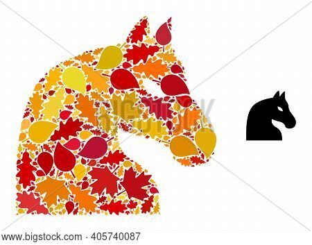 Chess Horse Mosaic Icon Designed For Fall Season. Vector Chess Horse Mosaic Is Made With Randomized