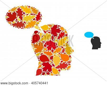 Imagination Cloud Mosaic Icon Created For Fall Season. Vector Imagination Cloud Mosaic Is Done With