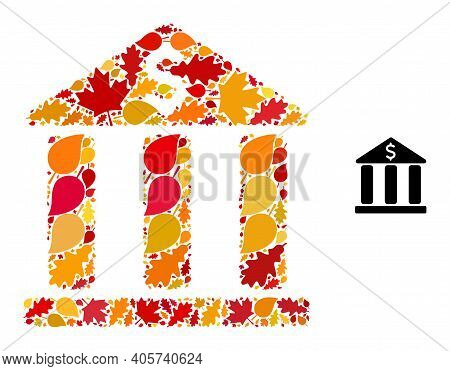 Bank Building Mosaic Icon Done For Fall Season. Vector Bank Building Mosaic Is Done With Randomized