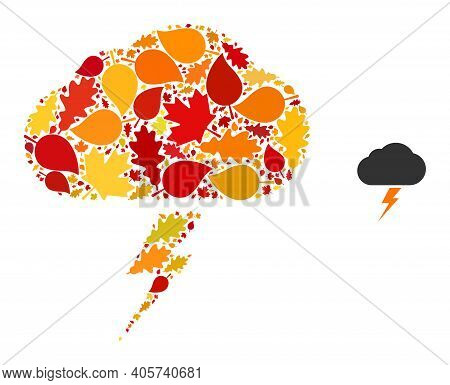 Thunderstorm Mosaic Icon Combined For Fall Season. Vector Thunderstorm Mosaic Is Composed With Rando