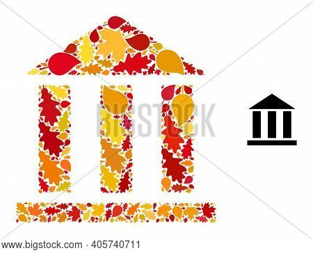 Library Office Mosaic Icon Designed For Fall Season. Vector Library Office Mosaic Is Shaped Of Rando