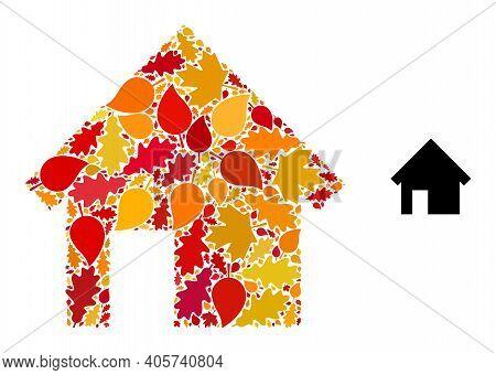 House Mosaic Icon Designed For Fall Season. Vector House Mosaic Is Designed From Scattered Autumn Ma