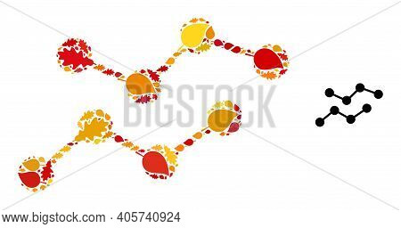 Charts Mosaic Icon Combined For Fall Season. Vector Charts Mosaic Is Designed Of Random Autumn Maple