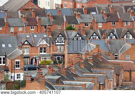 Rows Of Old Suburban Terraced Houses In An English Town. Warwick, Uk