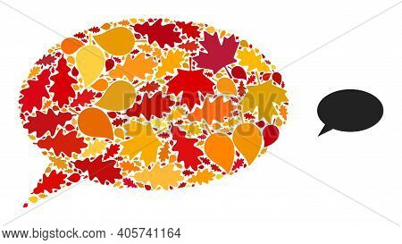 Chat Cloud Mosaic Icon Combined For Fall Season. Vector Chat Cloud Mosaic Is Created Of Randomized A