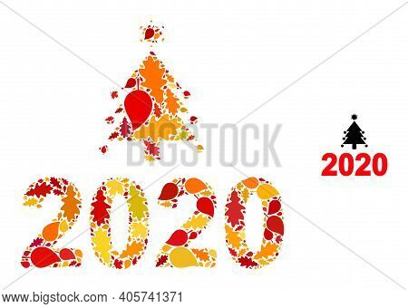 Covid 2020 New Year Mosaic Icon Combined For Fall Season. Vector Covid 2020 New Year Mosaic Is Made