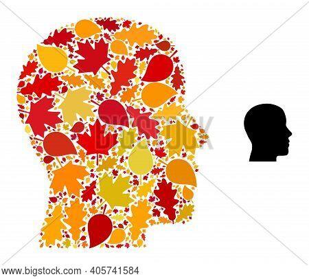Man Profile Mosaic Icon Organized For Fall Season. Vector Man Profile Mosaic Is Made With Scattered