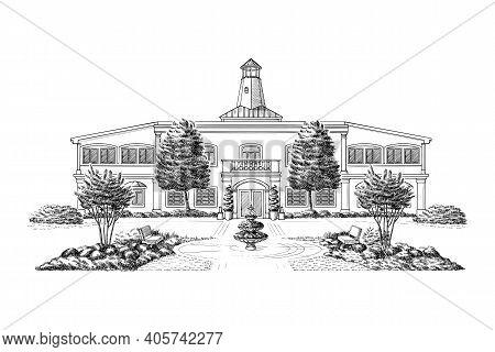 Vector Illustration With Style Mansion, Estate, Historic Building Landmark. Black And White Wedding