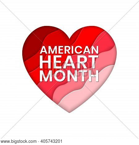 American Heart Month Banner Design Template. Vector Illustration Of Stylized Paper Cut Colorful Hear