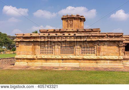 Aihole, Karnataka, India - November 7, 2013: Lad Khan Or Chalukya Shiva Temple. Side Veiw On Brown S