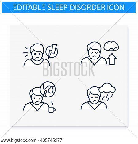 Sleep Disorder Line Icons Set. Healthy Sleeping Concept. General Symptoms .sleep Problems Treatment.