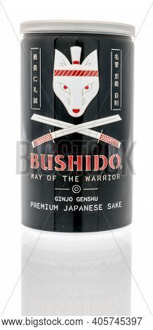 Winneconne, Wi -29 January 2021: A Can Of Bushido Japanese Sake On An Isolated Background.