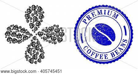 Adamant Crystal Centrifugal Flower Cluster, And Blue Round Premium Coffee Beans Grunge Rubber Print