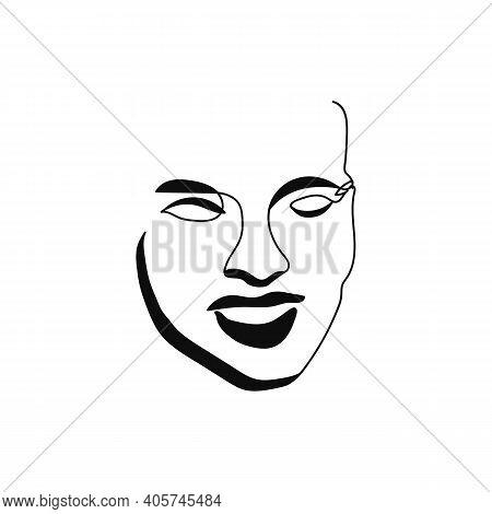 Gorgeous Portrait Continuous Silhouette Art. Abstract Woman Portrait. Glamour Style. Modern Minimali