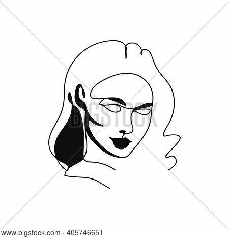Elegant Minimalist Portrait Continuous Silhouette Art. Contemporary Portrait. Long Hair, Looks Strai