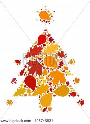 Coronavirus Fir-tree Mosaic Icon Organized For Fall Season. Raster Coronavirus Fir-tree Mosaic Is Or