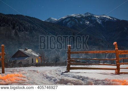 There Is A Lot Of Snow In Mountains. Snow-covered Mountain Camping From Snowfall. Alpine Houses In S