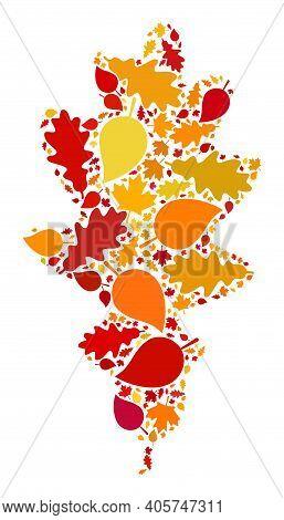 Oak Leaf Mosaic Icon Combined For Fall Season. Raster Oak Leaf Mosaic Is Formed Of Randomized Autumn