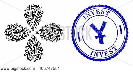 Chinese Yuan Currency Curl Flower With Four Petals, And Blue Round Invest Scratched Rubber Print Wit