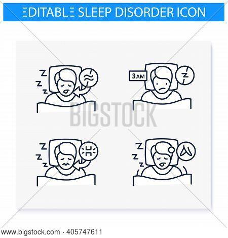 Sleep Disorder Line Icons Set. Healthy Sleeping Concept. Symptoms And Types Disorders Sleep. Falling