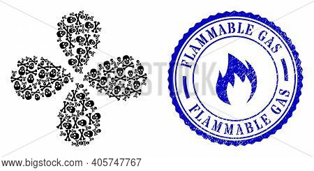 Death Skull Rotation Flower Shape, And Blue Round Flammable Gas Unclean Badge With Icon Inside. Obje